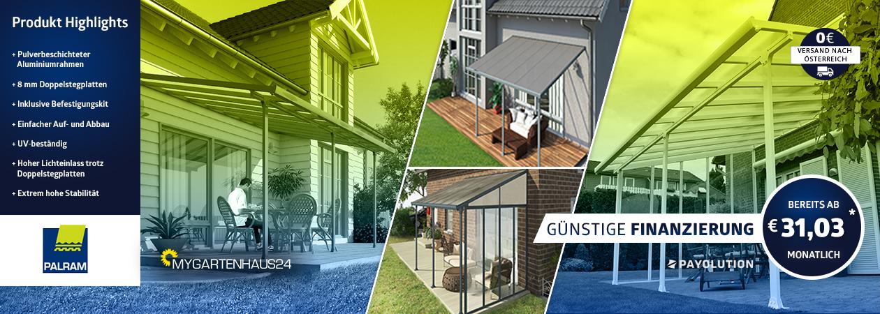 Terrassendächer von Palram in verschiedenen Größen und Farben erhältlich bei myGartenhaus24.at