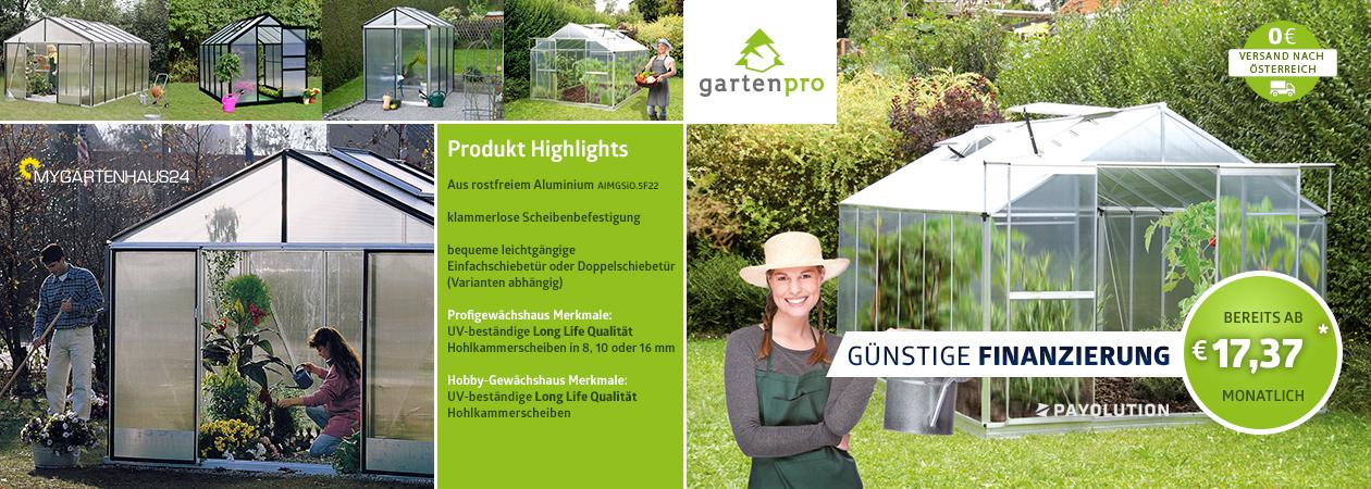 Auswahl an Gartenpro Gewächshäuser in unterschiedlichen Maßen und Formen direkt bestellen in Österreich bei myGartenhaus24.at