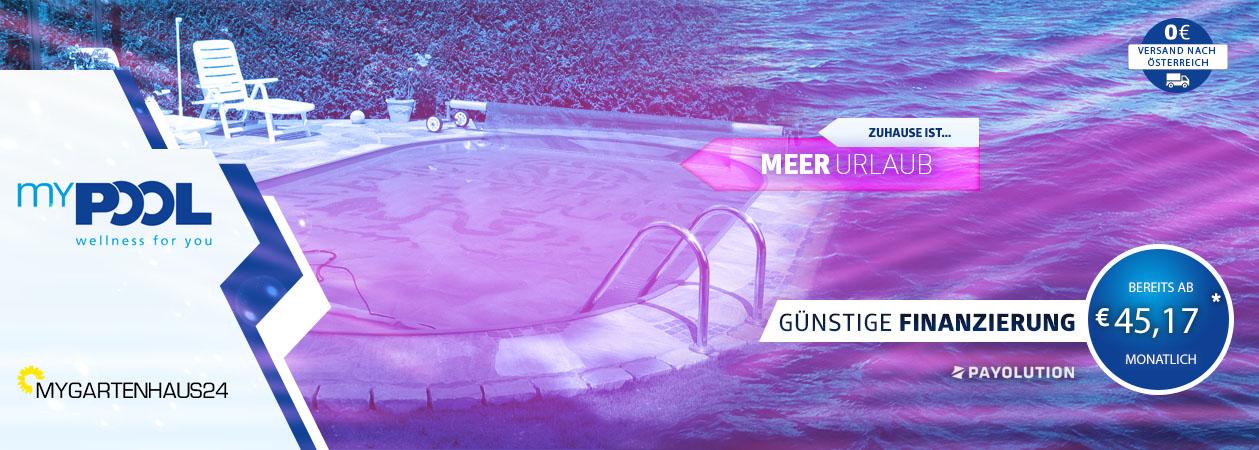 Große Auswahl an hochwertigen Schwimmbecken und Pools von myPOOL exklusiv bei myGartenhaus24.at